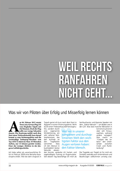 Erfolg Magazin – Weil rechts ranfahren nicht geht ...
